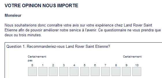 Sondage Land-Rover Evoque